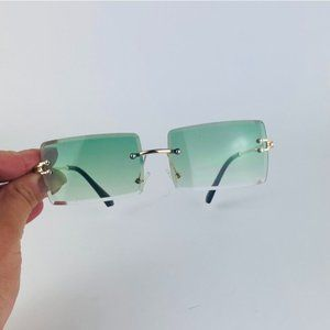 awesome rimless square green lens sunglasses